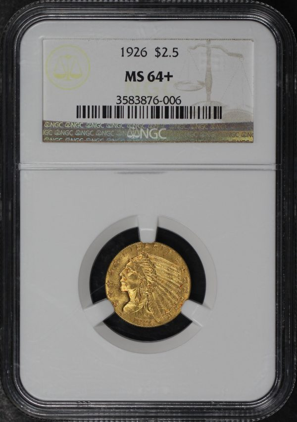 Obverse of this 1926 Indian $2.5 NGC MS-64+