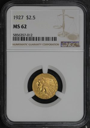Obverse of this 1927 Indian $2.5 NGC MS-62