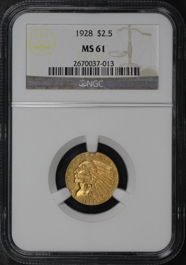 Obverse of this 1928 Indian $2.5 NGC MS-61