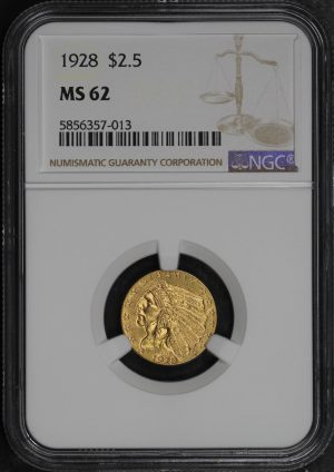 Obverse of this 1928 Indian $2.5 NGC MS-62