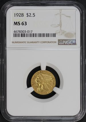 Obverse of this 1928 Indian $2.5 NGC MS-63