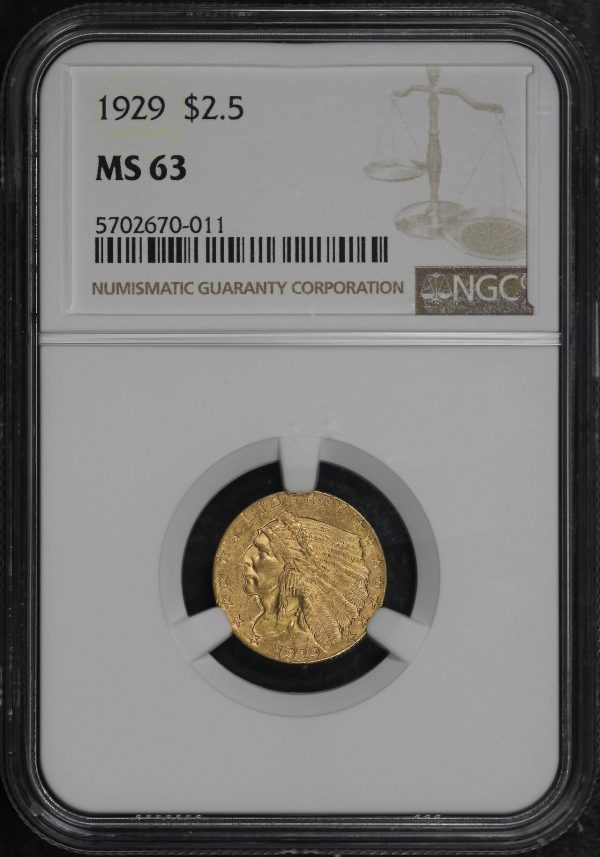 Obverse of this 1929 Indian $2.5 NGC MS-63