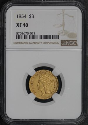 Obverse of this 1854 Three Dollar NGC XF-40