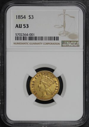 Obverse of this 1854 Three Dollar NGC AU-53