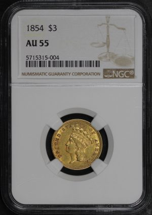 Obverse of this 1854 Three Dollar NGC AU-55