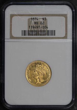 Obverse of this 1874 Three Dollar NGC MS-62