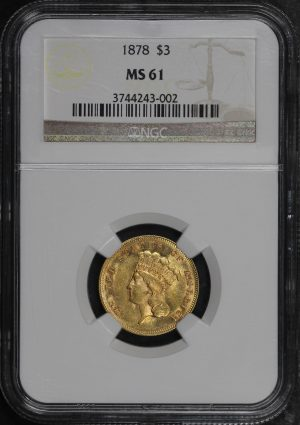 Obverse of this 1878 Three Dollar NGC MS-61