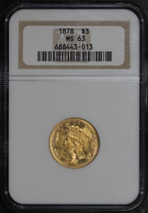 Obverse of this 1878 Three Dollar NGC MS-63