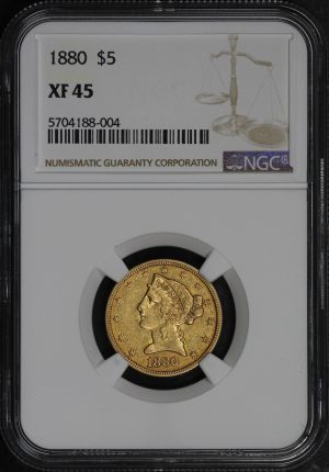 Obverse of this 1880 Liberty Head $5 NGC XF-45