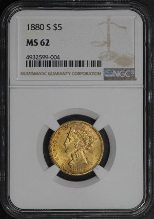 Obverse of this 1880-S Liberty Head $5 NGC MS-62
