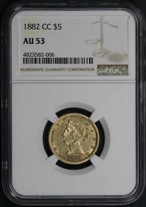 Obverse of this 1882-CC Liberty Head $5 NGC AU-53