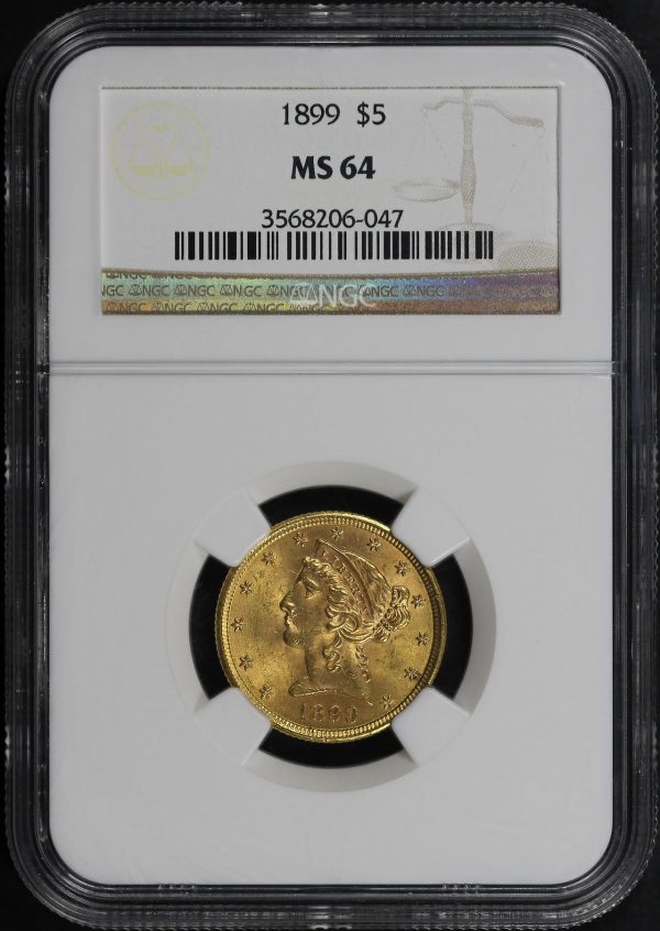 Obverse of this 1899 Liberty Head $5 NGC MS-64