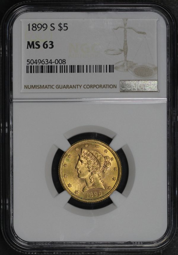 Obverse of this 1899-S Liberty Head $5 NGC MS-63