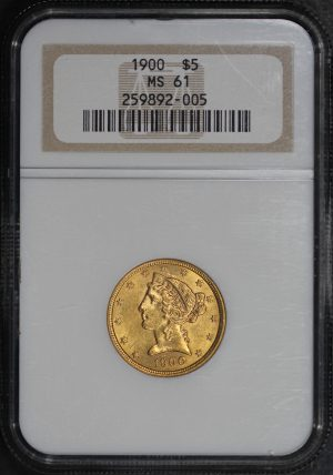 Obverse of this 1900 Liberty Head $5 NGC MS-61