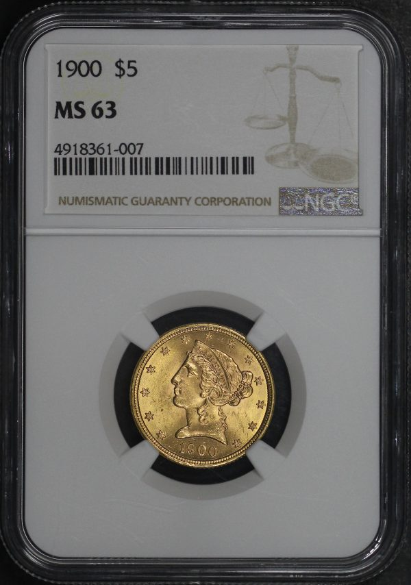 Obverse of this 1900 Liberty Head $5 NGC MS-63