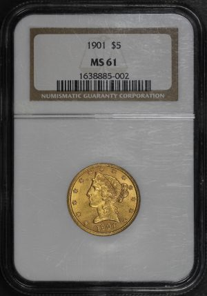 Obverse of this 1901 Liberty Head $5 NGC MS-61