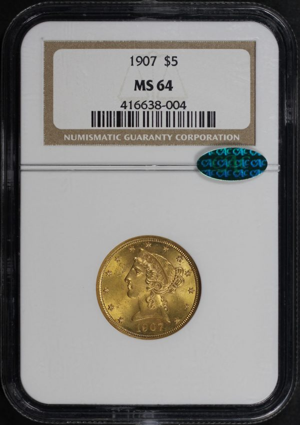 Obverse of this 1907 Liberty Head $5 NGC MS-64 CAC