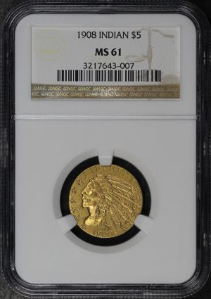 Obverse of this 1908 Indian $5 NGC MS-61