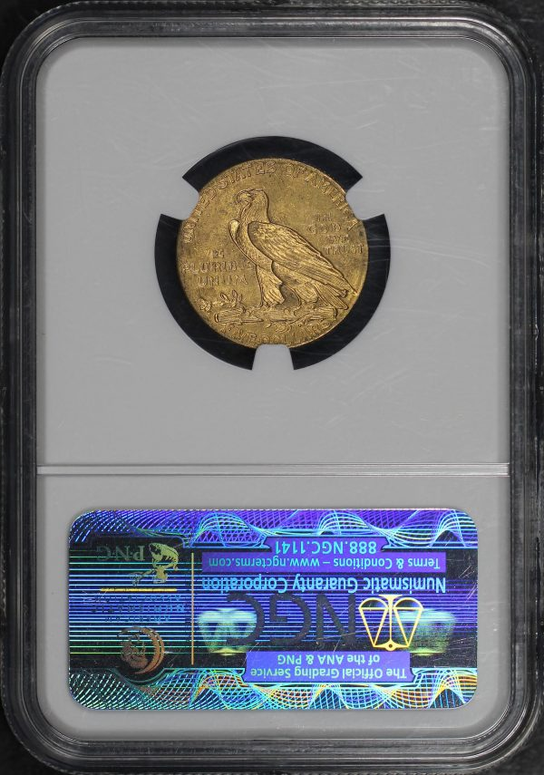Reverse of this 1908 Indian $5 NGC MS-63