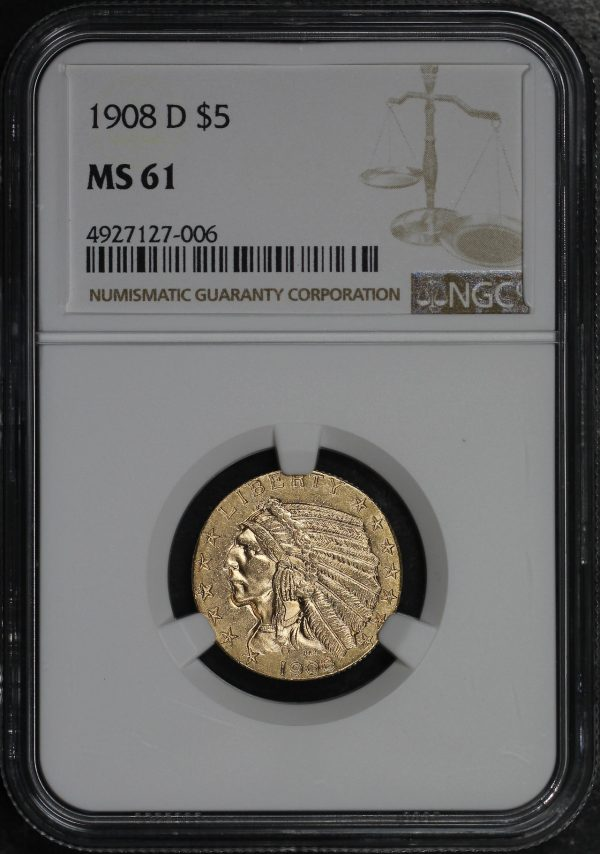 Obverse of this 1908-D Indian $5 NGC MS-61