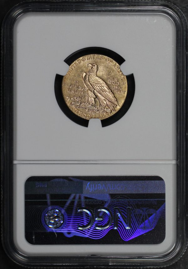 Reverse of this 1908-D Indian $5 NGC MS-61