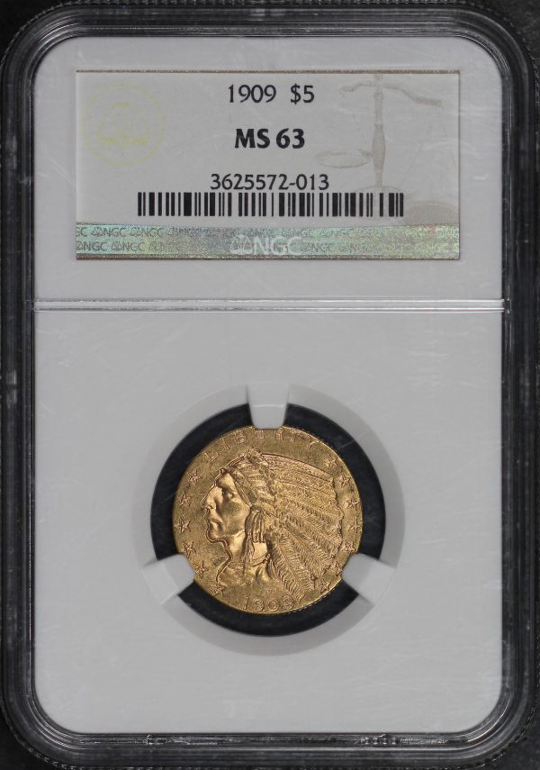 Obverse of this 1909 Indian $5 NGC MS-63