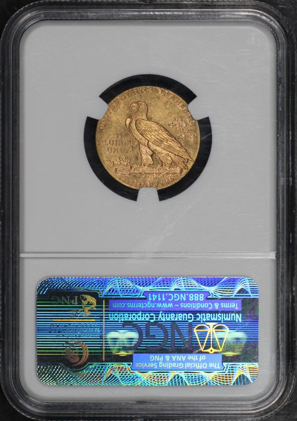 Reverse of this 1909 Indian $5 NGC MS-63