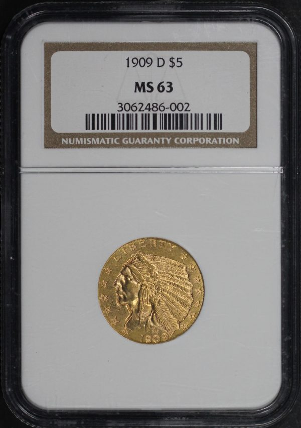Obverse of this 1909-D Indian $5 NGC MS-63
