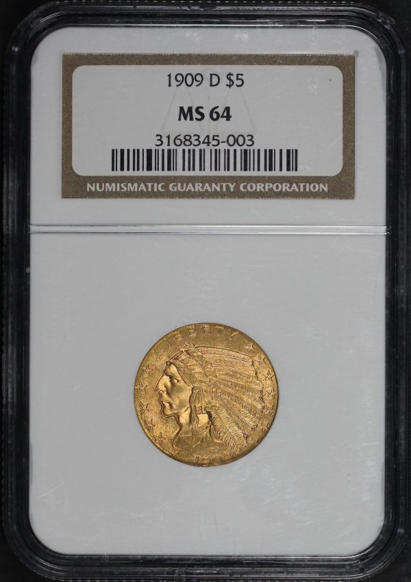 Obverse of this 1909-D Indian $5 NGC MS-64