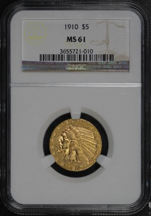 Obverse of this 1910 Indian $5 NGC MS-61