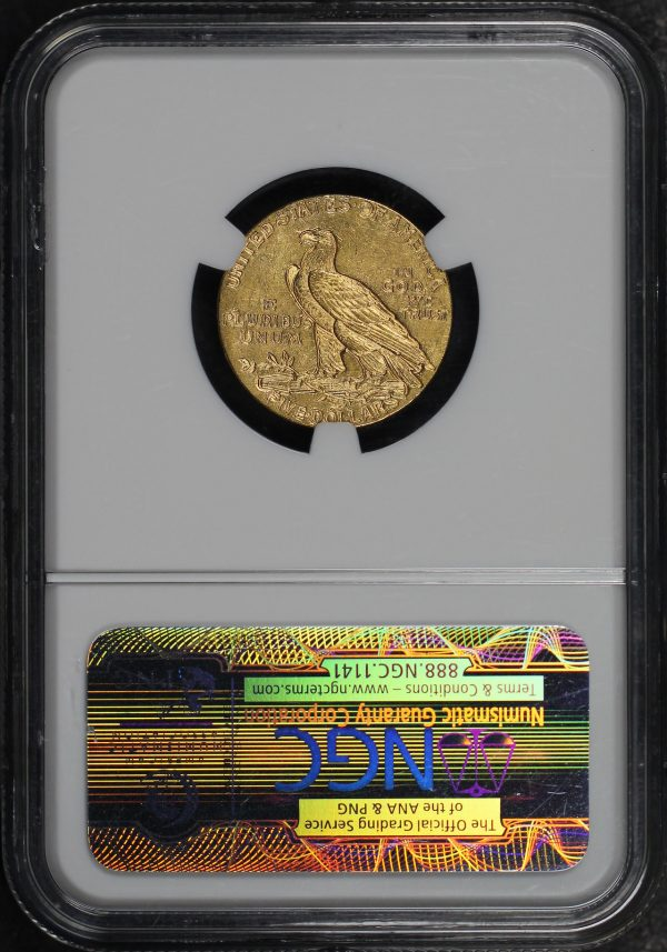 Reverse of this 1910 Indian $5 NGC MS-61