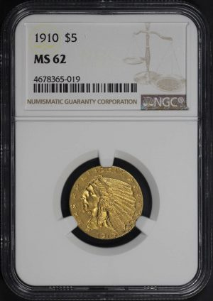 Obverse of this 1910 Indian $5 NGC MS-62
