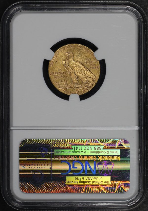 Reverse of this 1911 Indian $5 NGC MS-61