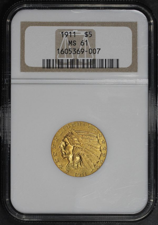Obverse of this 1911 Indian $5 NGC MS-61