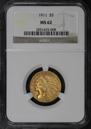 Obverse of this 1911 Indian $5 NGC MS-62