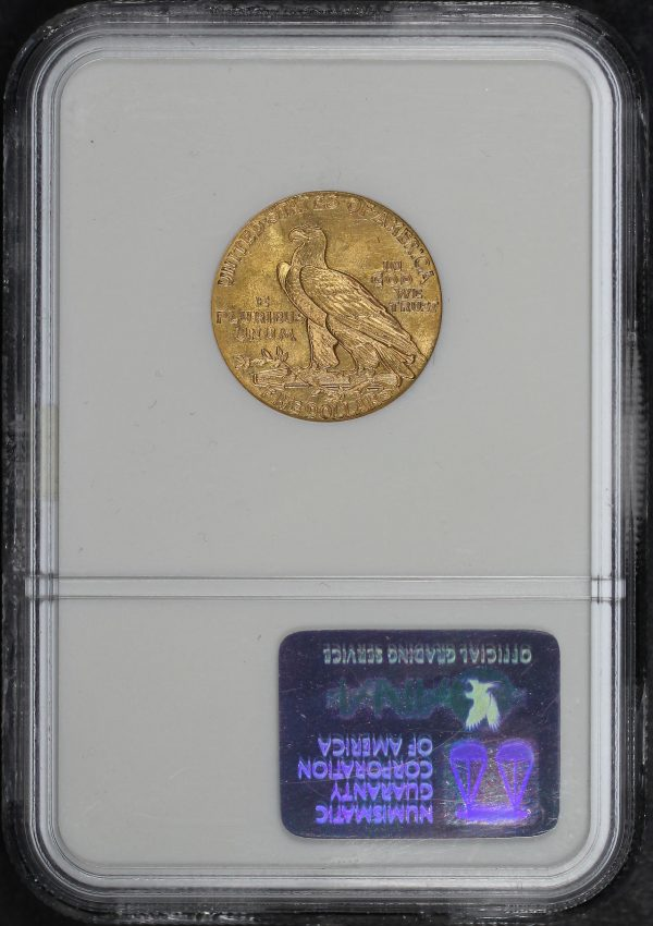 Reverse of this 1911 Indian $5 NGC MS-62