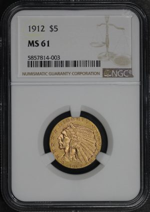 Obverse of this 1912 Indian $5 NGC MS-61