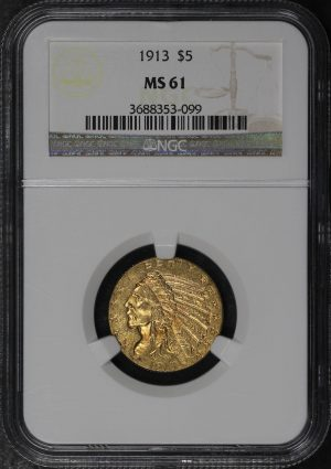 Obverse of this 1913 Indian $5 NGC MS-61