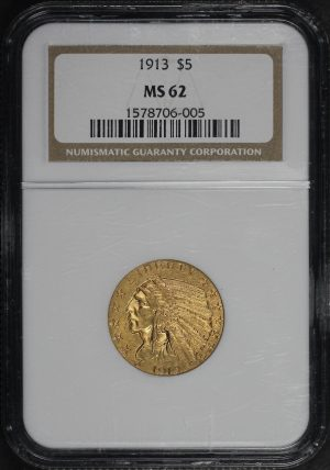 Obverse of this 1913 Indian $5 NGC MS-62