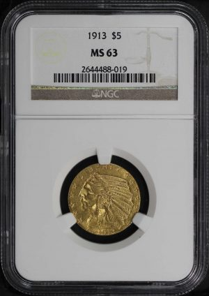 Obverse of this 1913 Indian $5 NGC MS-63