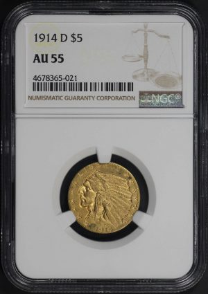 Obverse of this 1914-D Indian $5 NGC AU-55