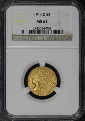 Obverse of this 1914-D Indian $5 NGC MS-61