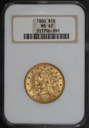 Obverse of this 1880 Liberty Head $10 NGC MS-62