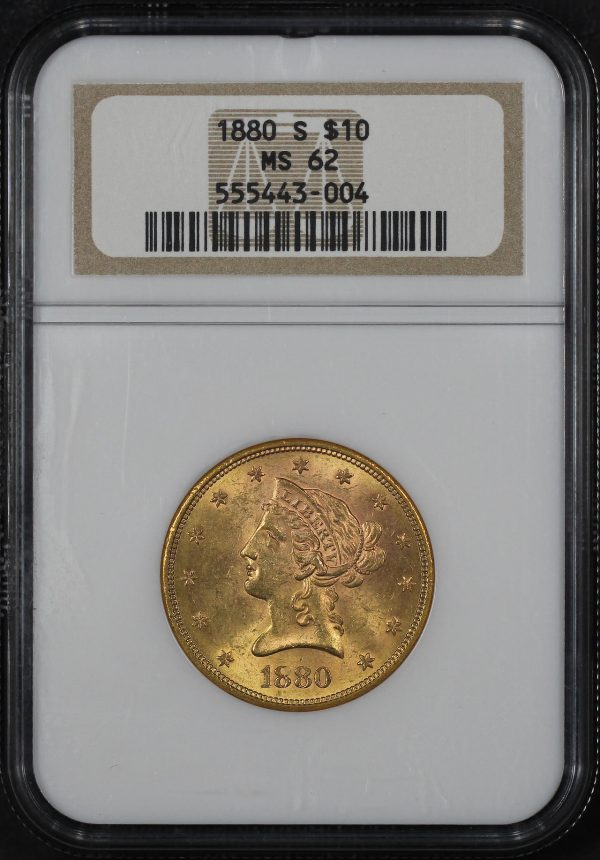 Obverse of this 1880-S Liberty Head $10 NGC MS-62