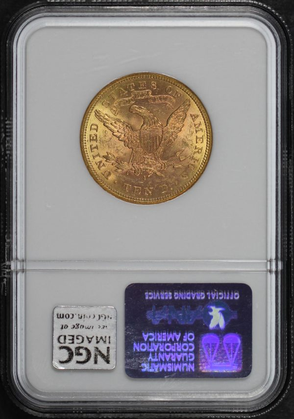 Reverse of this 1880-S Liberty Head $10 NGC MS-62