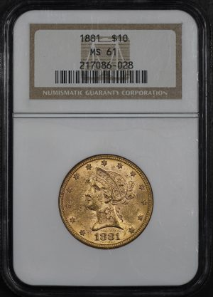 Obverse of this 1881 Liberty Head $10 NGC MS-61