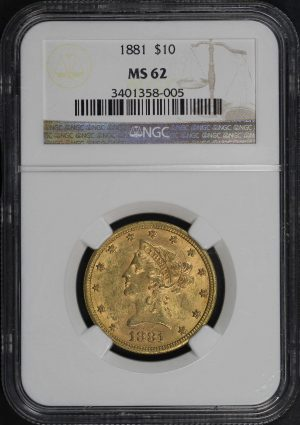 Obverse of this 1881 Liberty Head $10 NGC MS-62