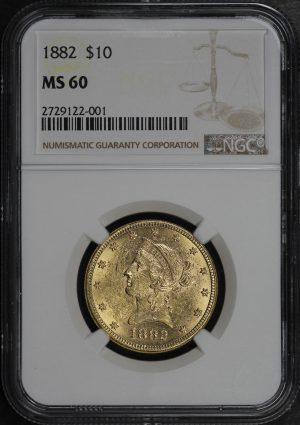 Obverse of this 1882 Liberty Head $10 NGC MS-60