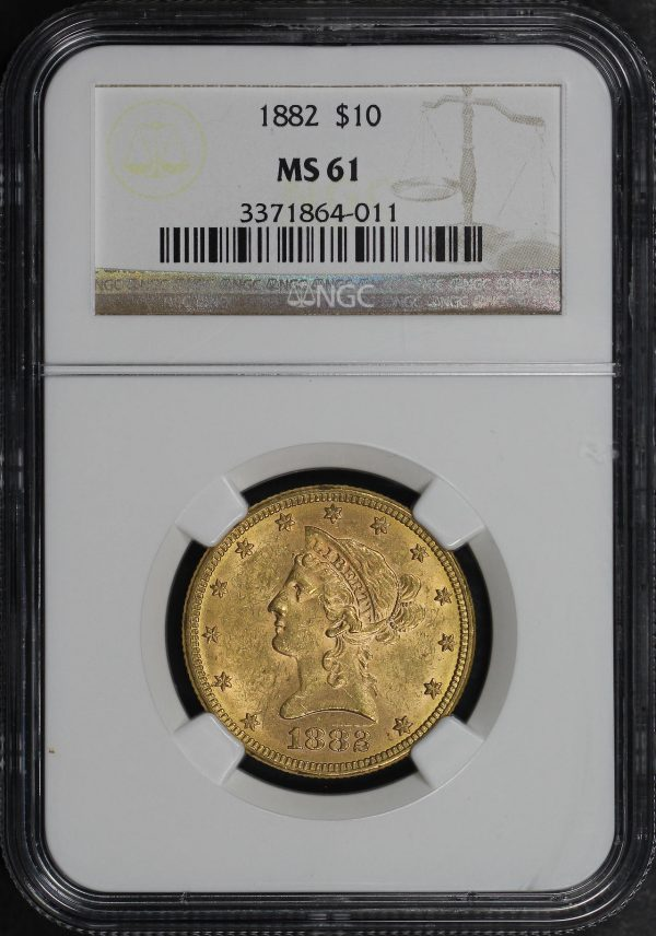 Obverse of this 1882 Liberty Head $10 NGC MS-61