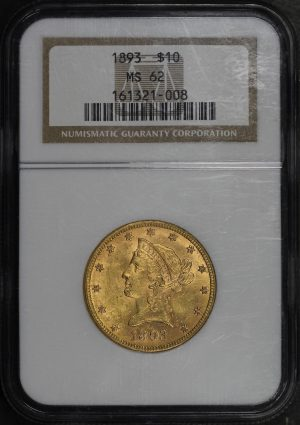 Obverse of this 1893 Liberty Head $10 NGC MS-62